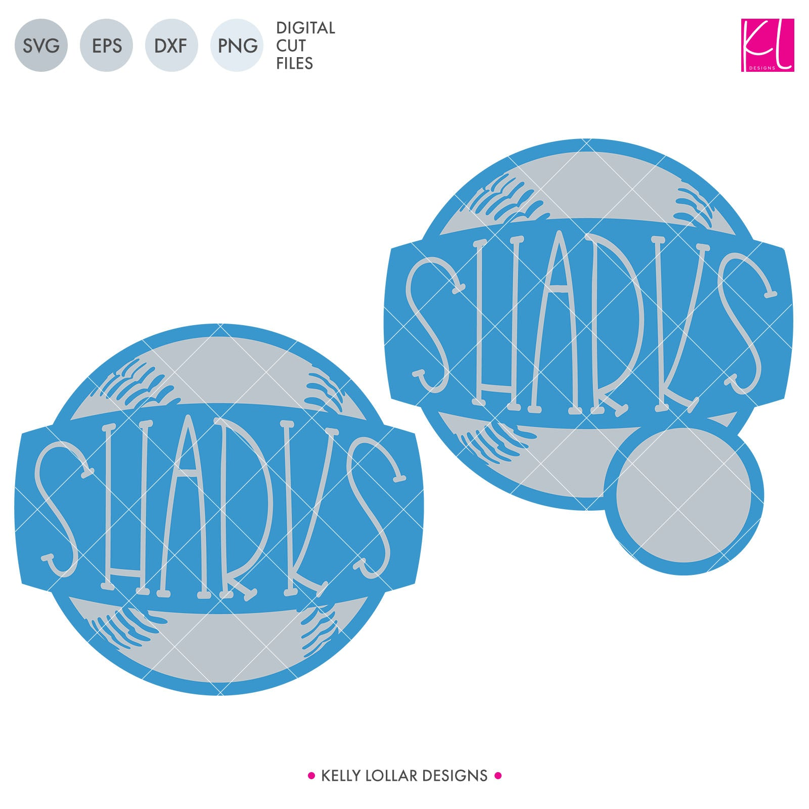 Sharks Baseball & Softball Monogram Frame | SVG DXF EPS PNG Cut Files Add some fun to your expanding Shark Baseball or Softball wardrobe with this cute set of two frames. You'll love the knockout lettering, plus you can choose between the original