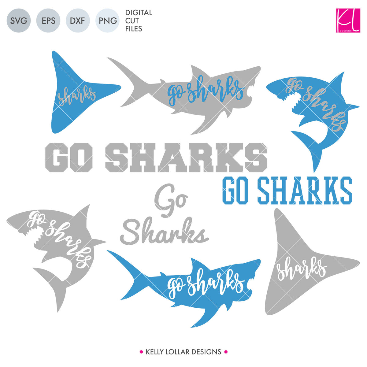 Sharks Mascot Bundle | SVG DXF EPS PNG Cut Files