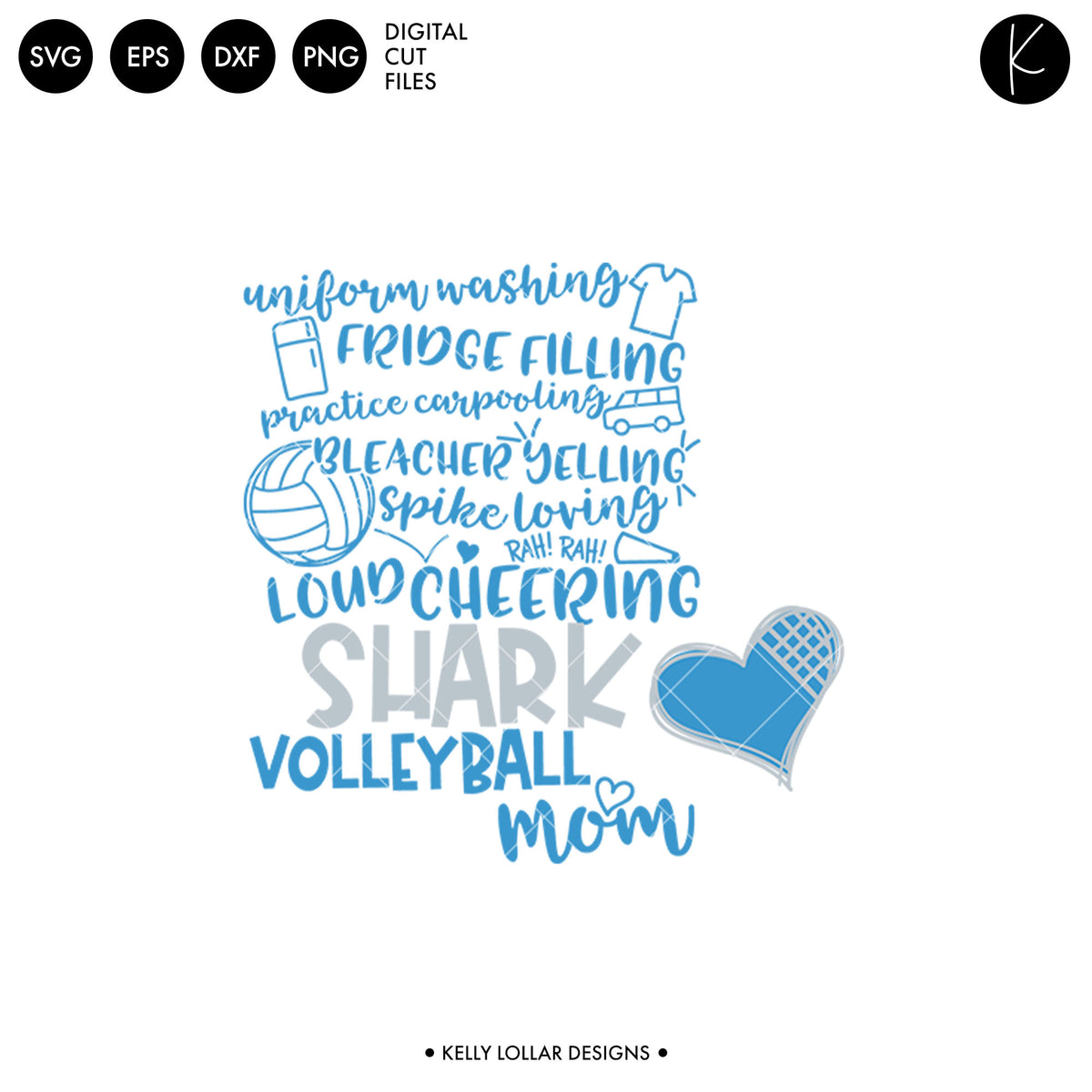 Sharks Volleyball Bundle | SVG DXF EPS PNG Cut Files