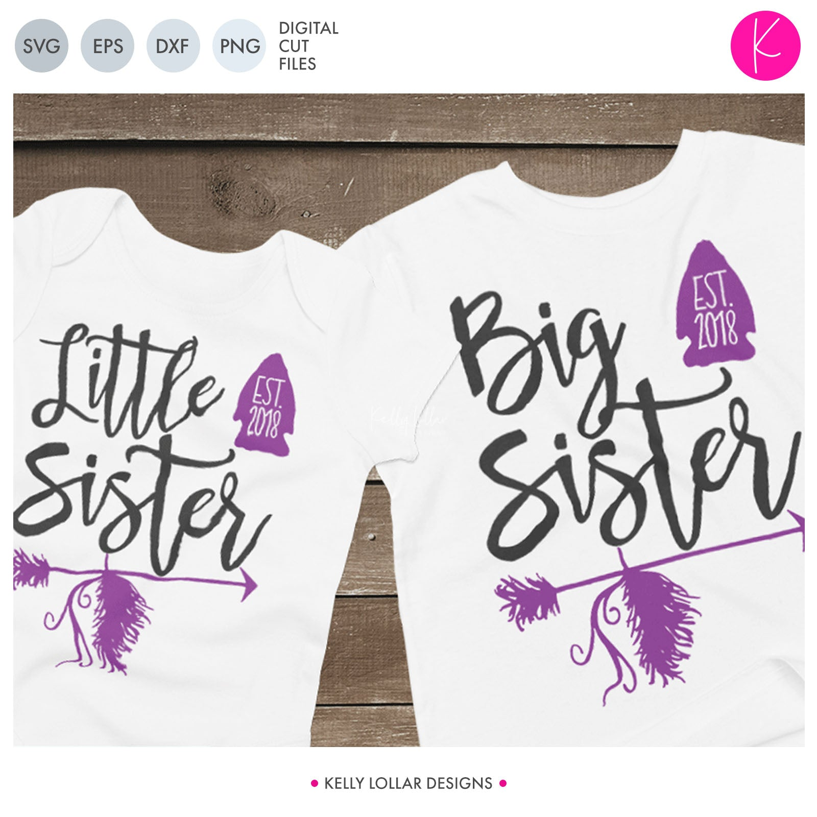Sisters with Arrows | SVG DXF EPS PNG Cut Files Matching Big and Little Sister Shirt Designs with Arrows and Arrowheads | SVG DXF PNG Cut Files  Set of sibling designs for matching sister shirts with a spot to add the