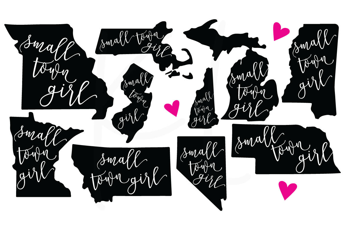 Collection of All 50 States with Small Town Girl Quote Knocked Out and Hand Drawn Heart to Personalize Your Location - Perfect for State Pride Shirts | SVG DXF PNG Cut Files