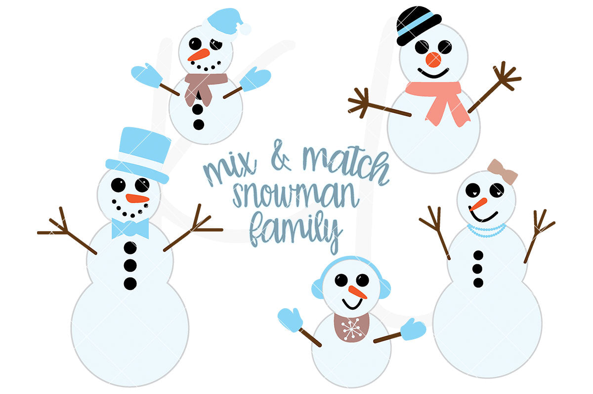 Snowman Family svg pack - Mix and Match Family Set of Snowman Pieces with Adult, Child and Baby Sized Snowmen for Christmas Projects | SVG DXF PNG Cut Files