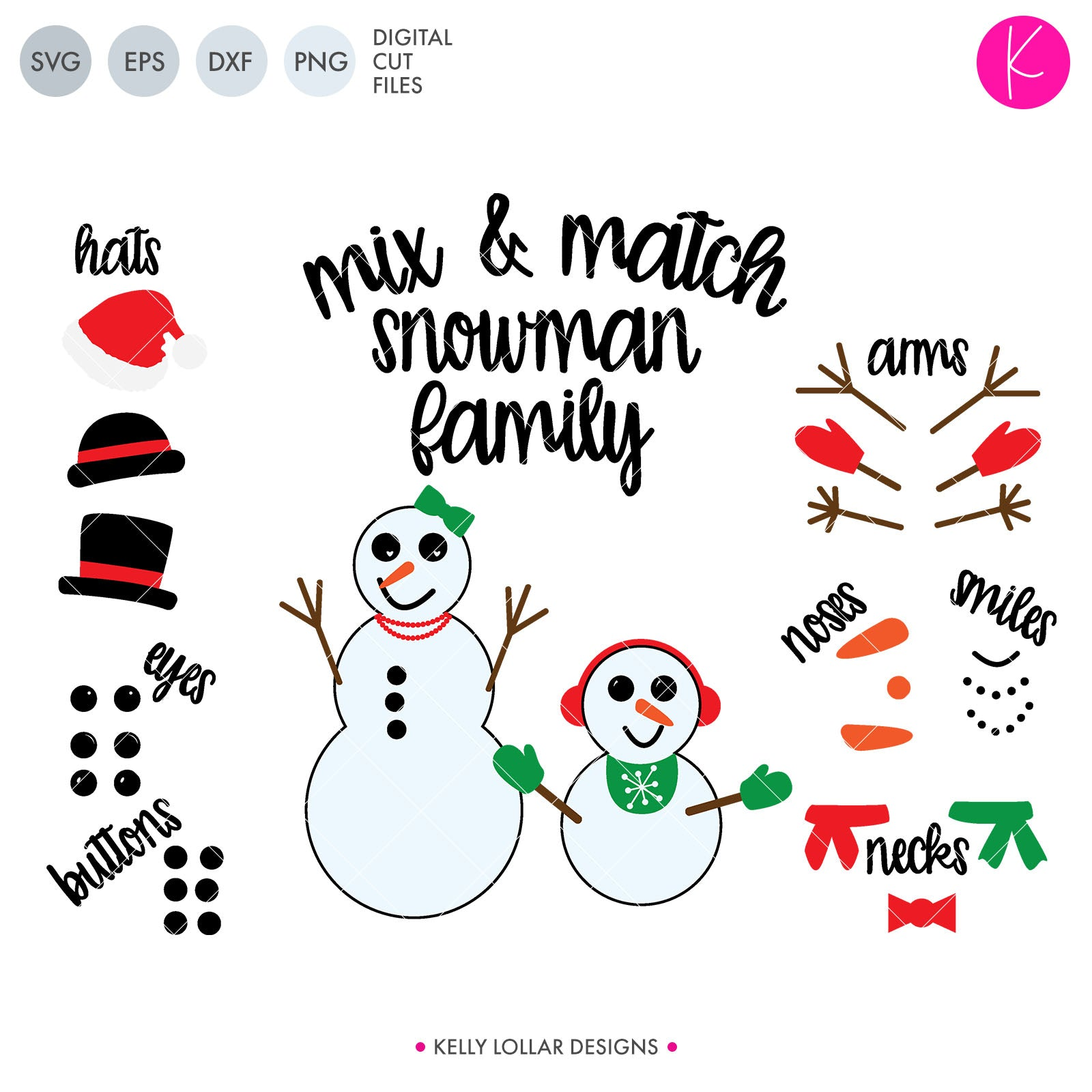 Snowman Family Pack | SVG DXF EPS PNG Cut Files
