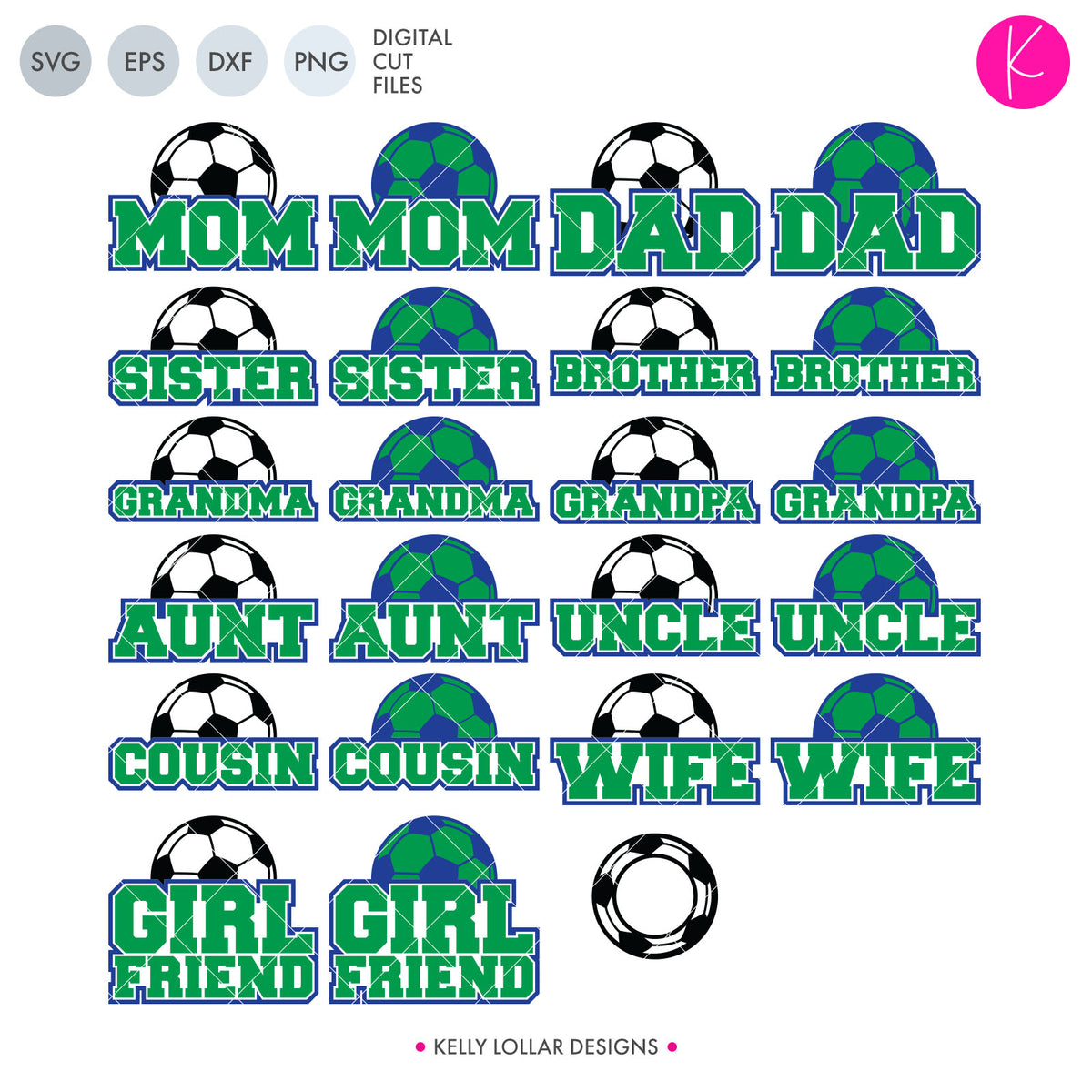 Soccer Family Bundle | SVG DXF EPS PNG Cut Files