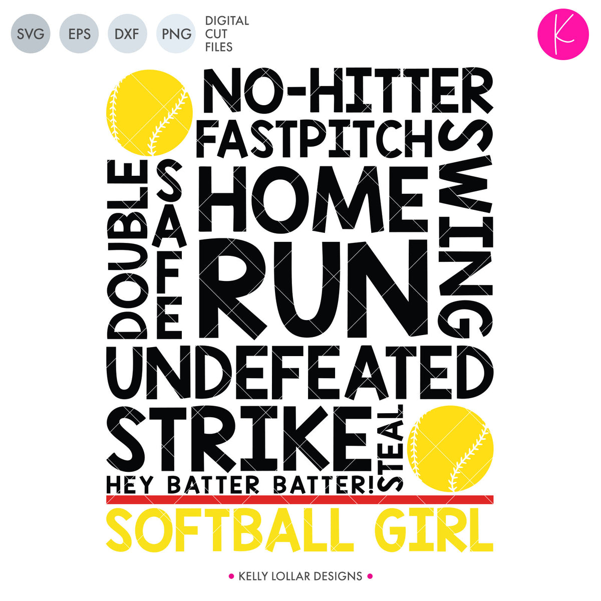 Softball Girl | SVG DXF EPS PNG Cut Files