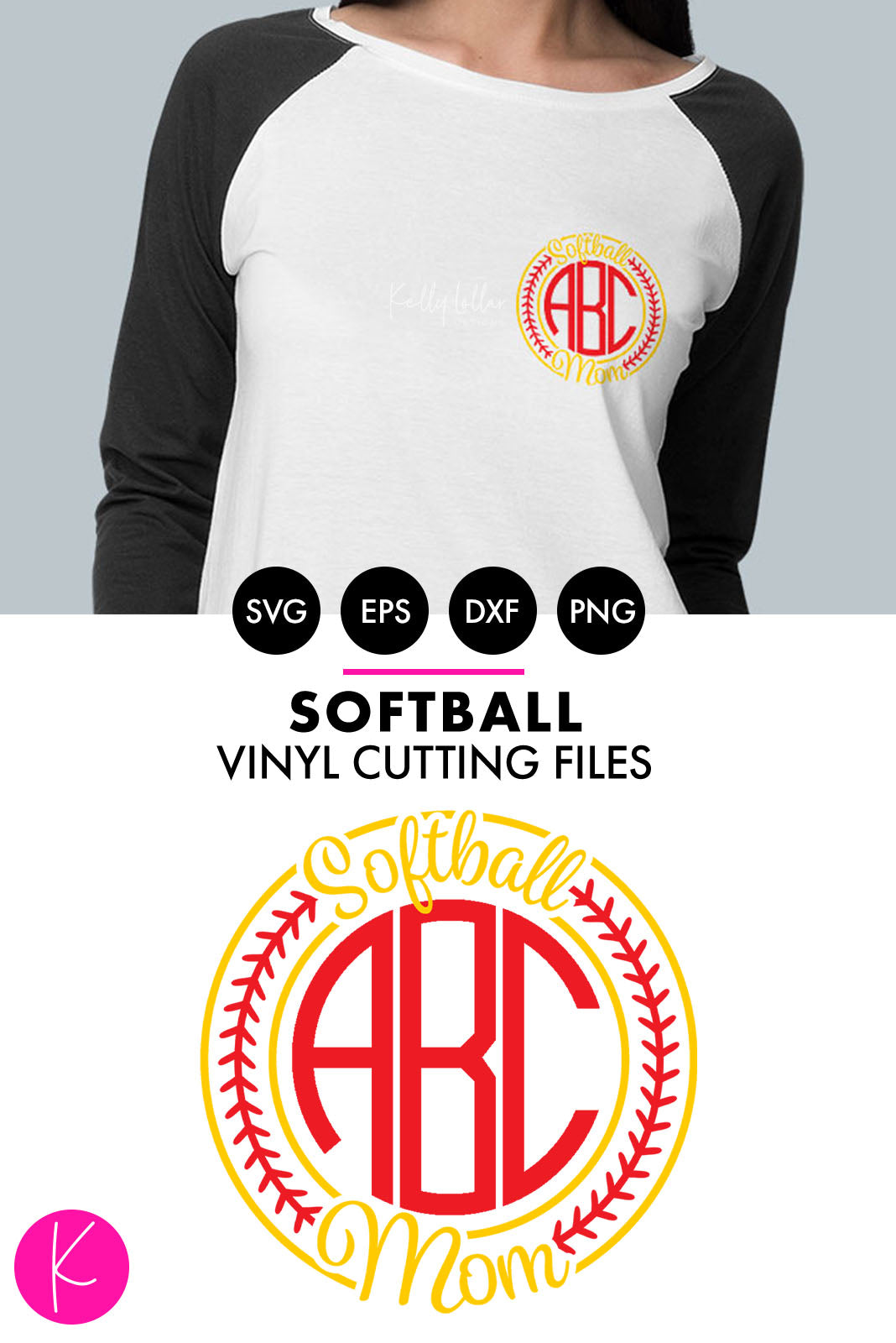 Softball Mom Monogram | SVG DXF EPS PNG Cut Files Softball Mom Monogram Frame with Stitch Circle | SVG DXF PNG Cut Files 1 file for each format circles, stitches and lettering welded separately for up to a 3 color