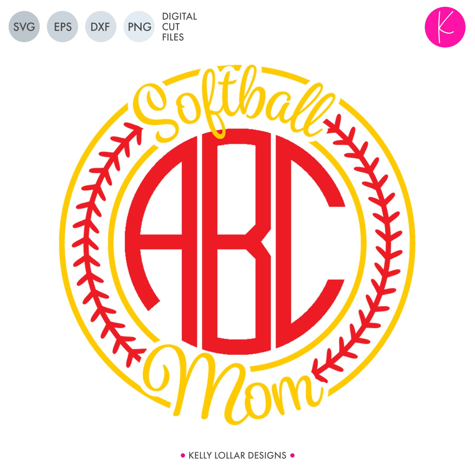 Softball Mom Monogram Frame for a circle monogram with stitch border and script lettering