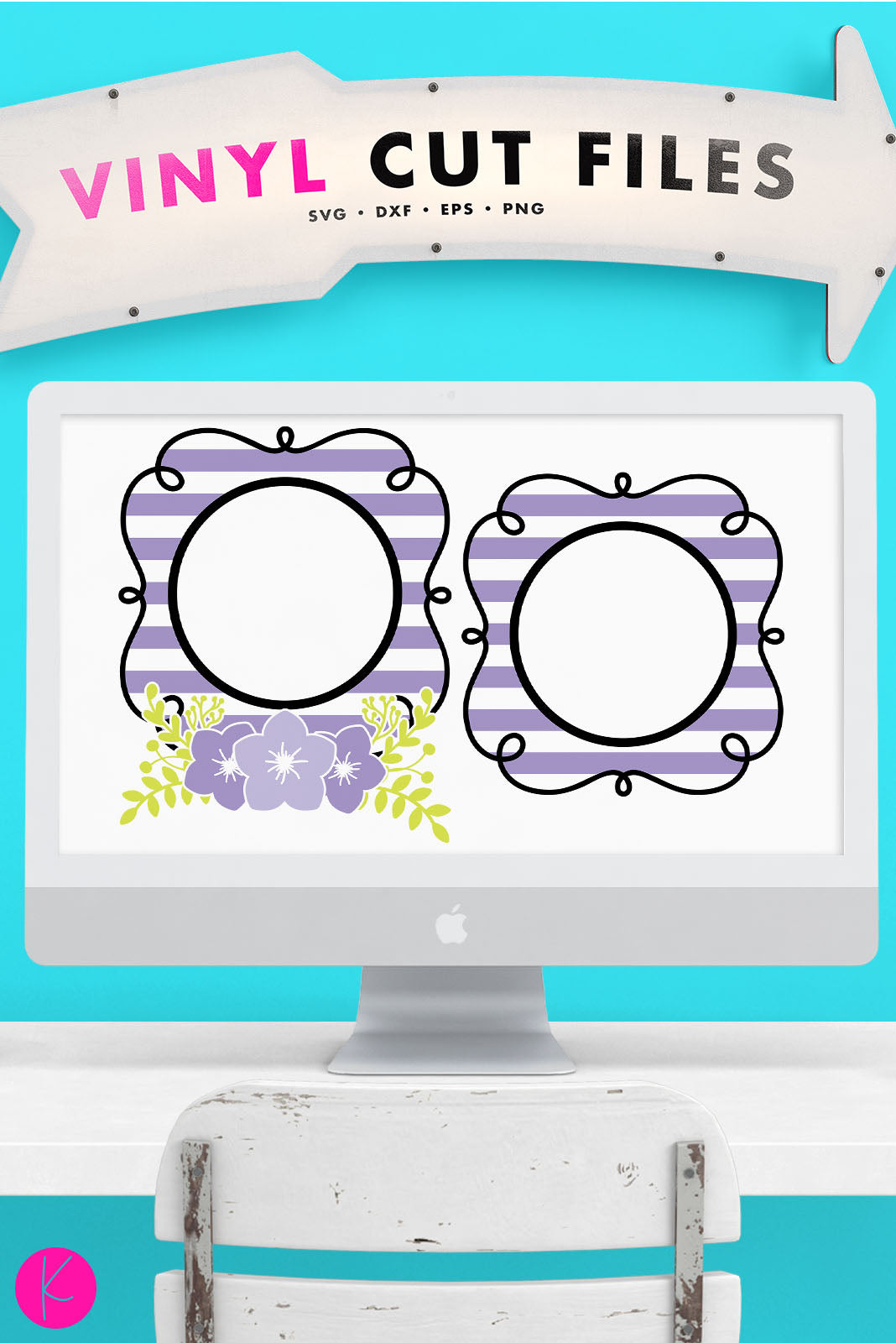 Spring Monogram | SVG DXF EPS PNG Cut Files