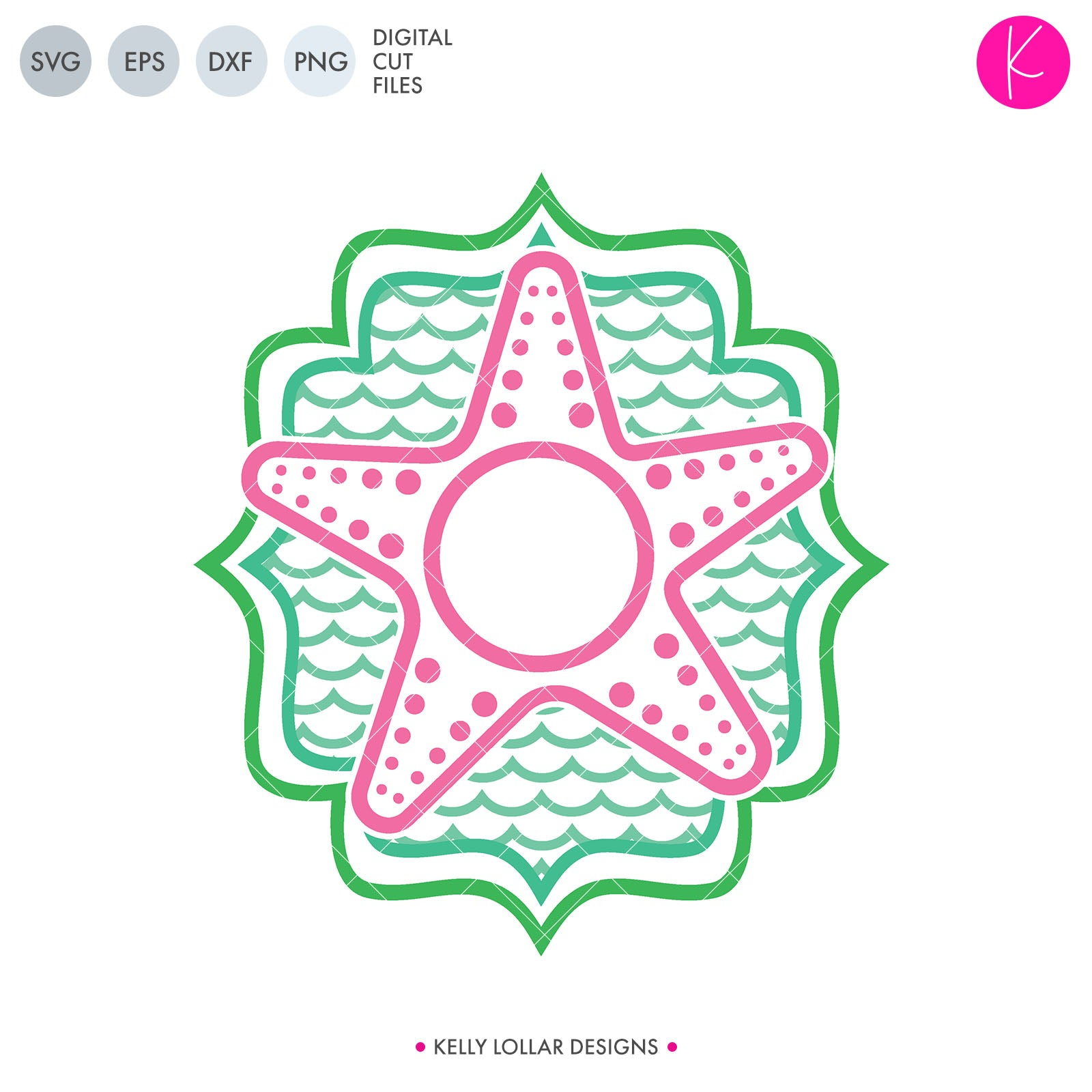 Starfish Monogram | SVG DXF EPS PNG Cut Files
