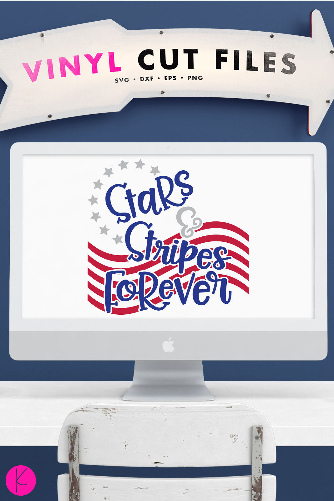Stars & Stripes Forever | SVG DXF EPS PNG Cut Files