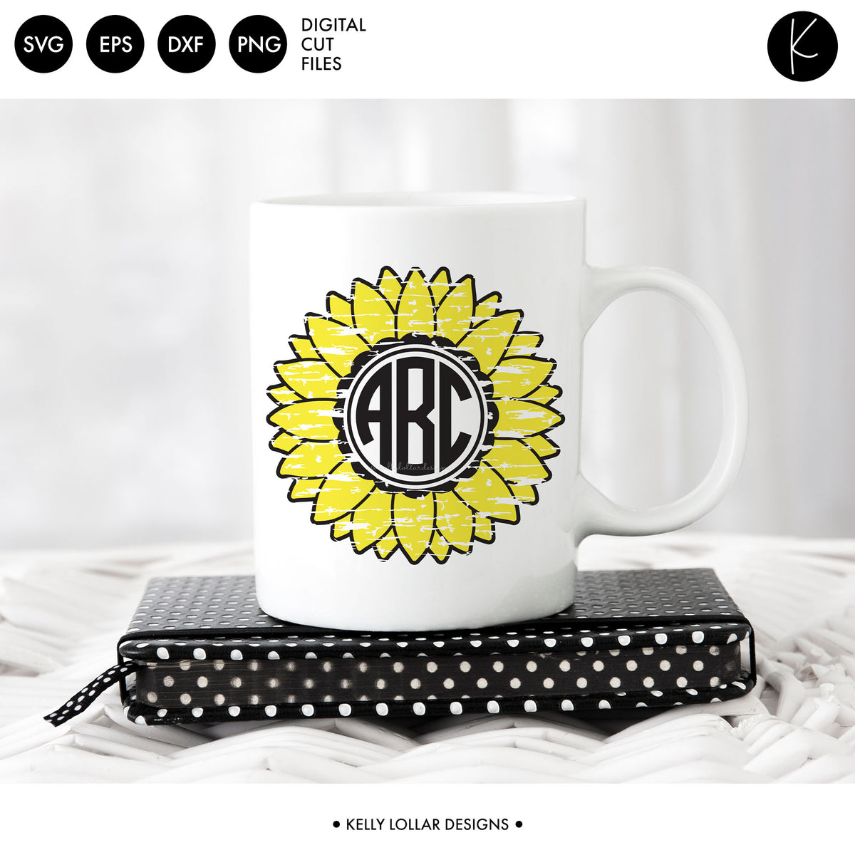 Sunflower Monogram Pack | SVG DXF EPS PNG Cut Files
