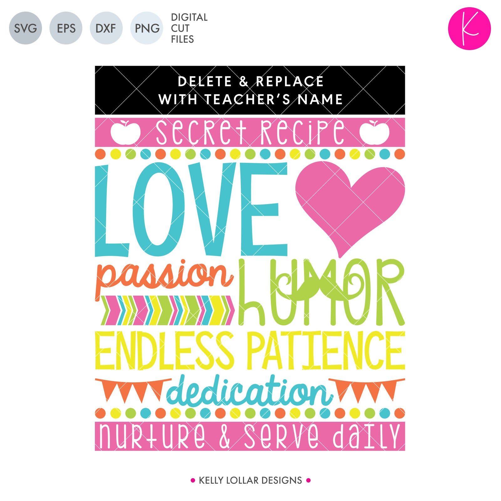 Teacher's Secret Recipe | SVG DXF EPS PNG Cut Files