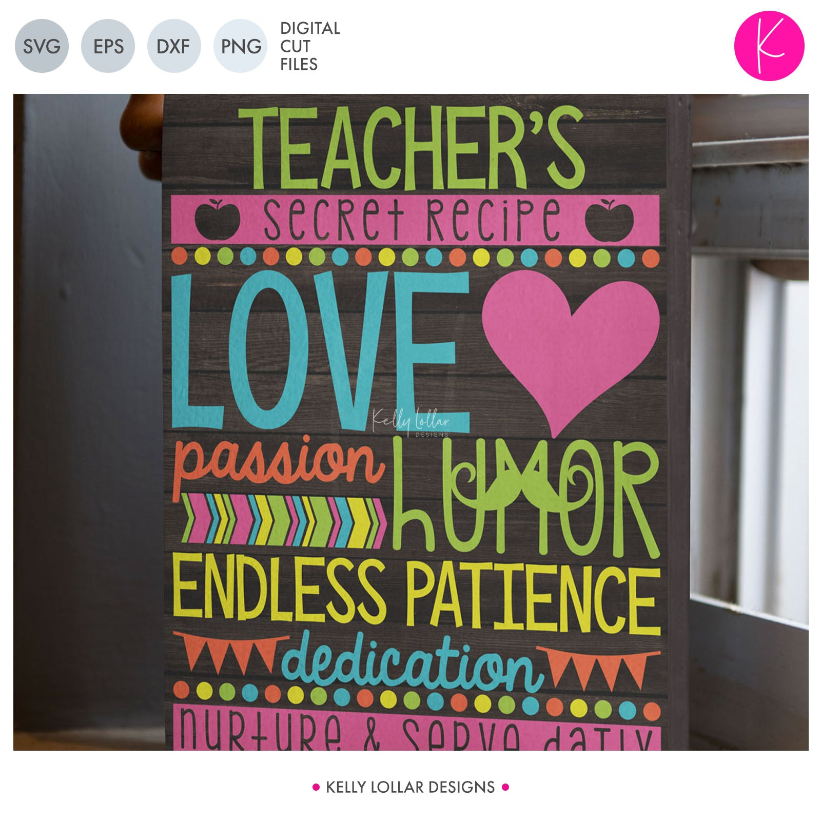 Teacher's Secret Recipe | SVG DXF EPS PNG Cut Files Teacher Appreciation Design with a List of What Makes Her Awesome | SVG DXF EPS PNG Cut Files Teacher Appreciation Design with a List of What Makes Her Awesome Includes