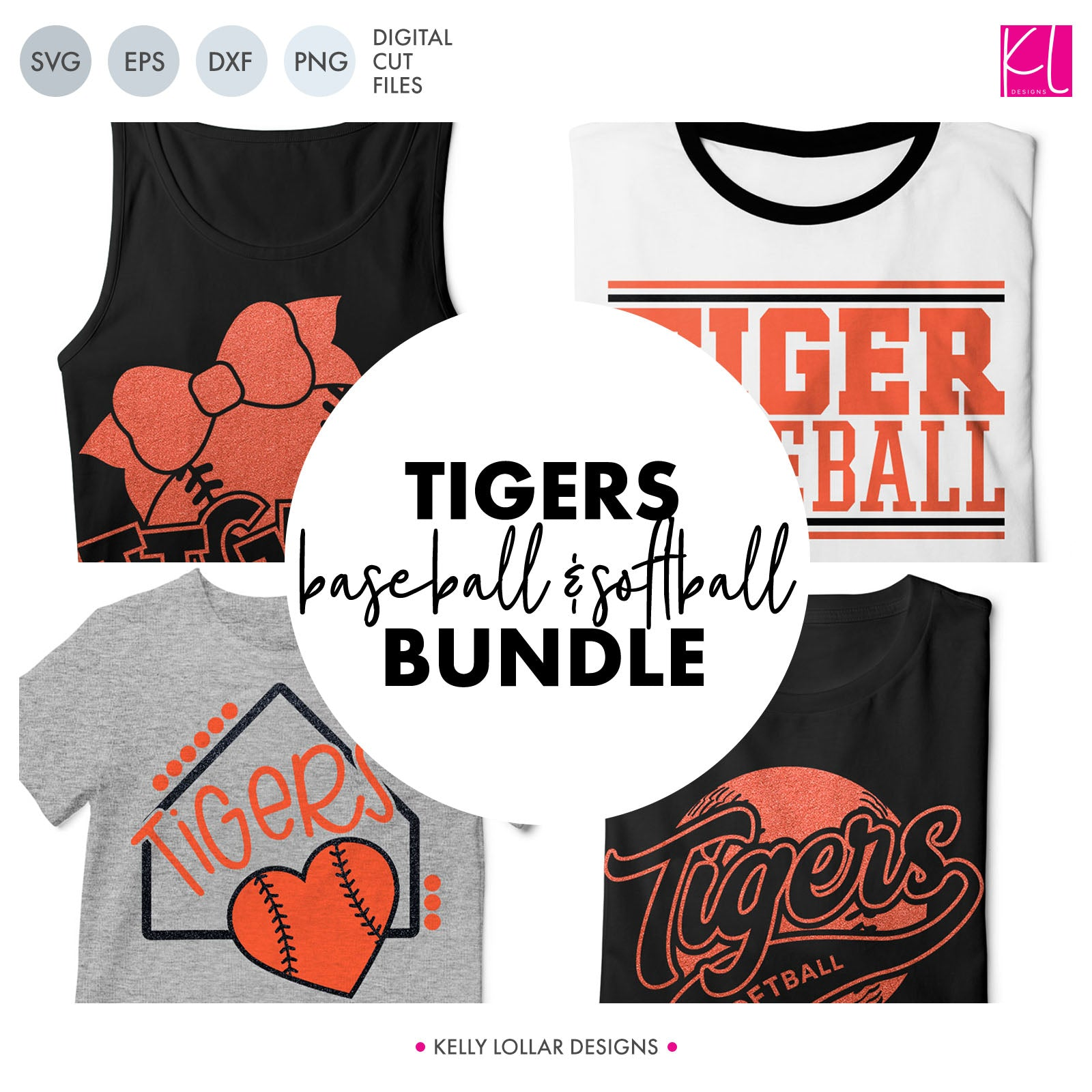 Tigers Baseball & Softball Bundle | SVG DXF EPS PNG Cut Files It's baseball and softball season, so Tiger crafter know what that means ... new spirit shirts! This fifteen-piece bundle includes a little something for everyone - from girly and cute