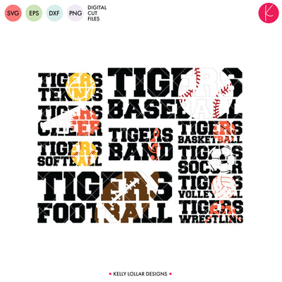 Tigers Everything Spirit Bundle | SVG DXF EPS PNG Cut Files