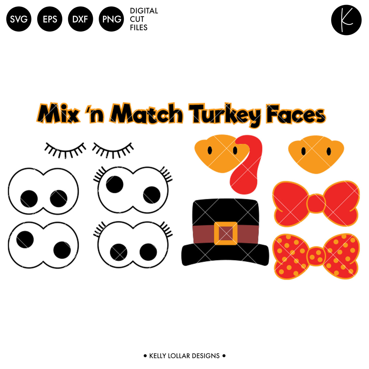 Turkey Faces Pack | SVG DXF EPS PNG Cut Files