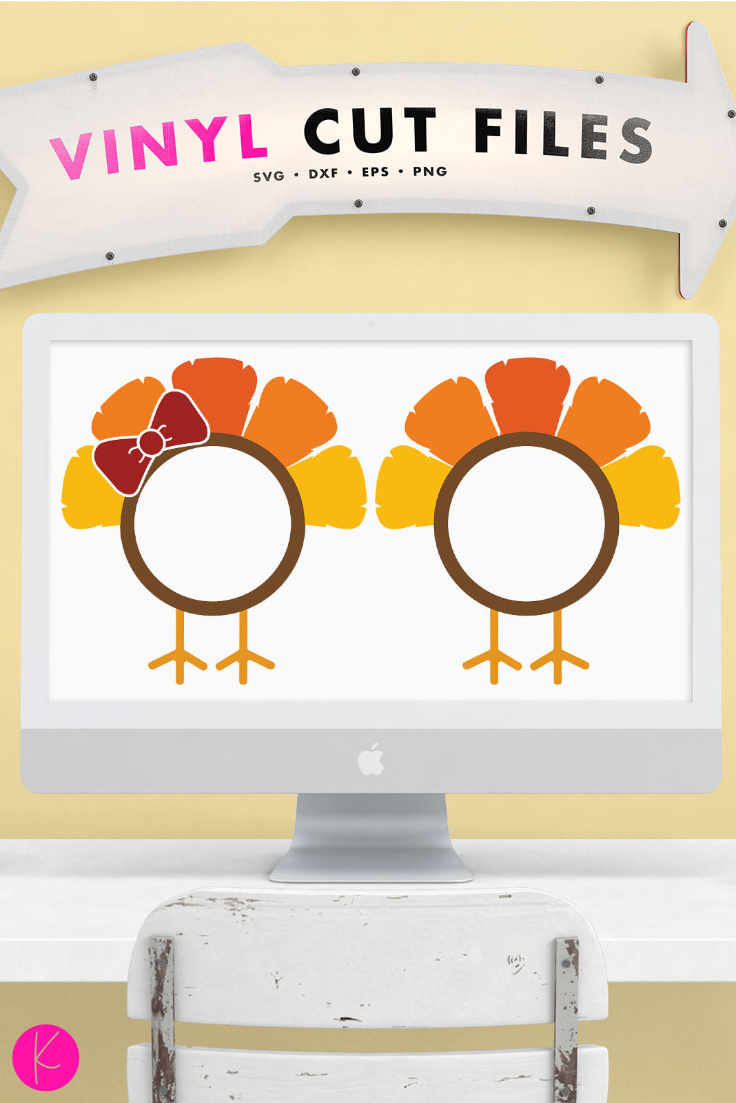 Turkey Monogram Frames | SVG DXF EPS PNG Cut Files
