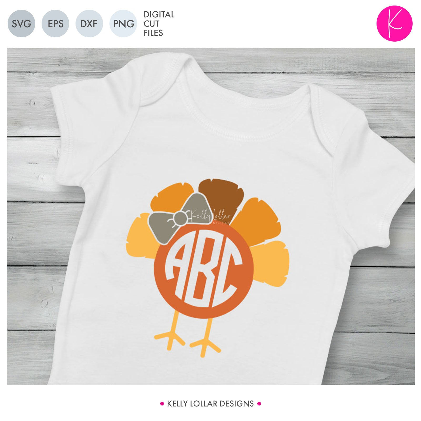 Turkey Monogram | SVG DXF EPS PNG Cut Files Ruffled Feather Turkey with Circle Monogram Area, legs and Optional Bow for Baby and Children's Thanksgiving Shirt | SVG DXF EPS PNG Cut Files When you need a Thanksgiving monogram