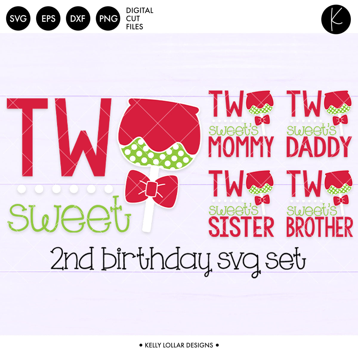 Two Sweet Second Birthday Set | SVG DXF EPS PNG Cut Files