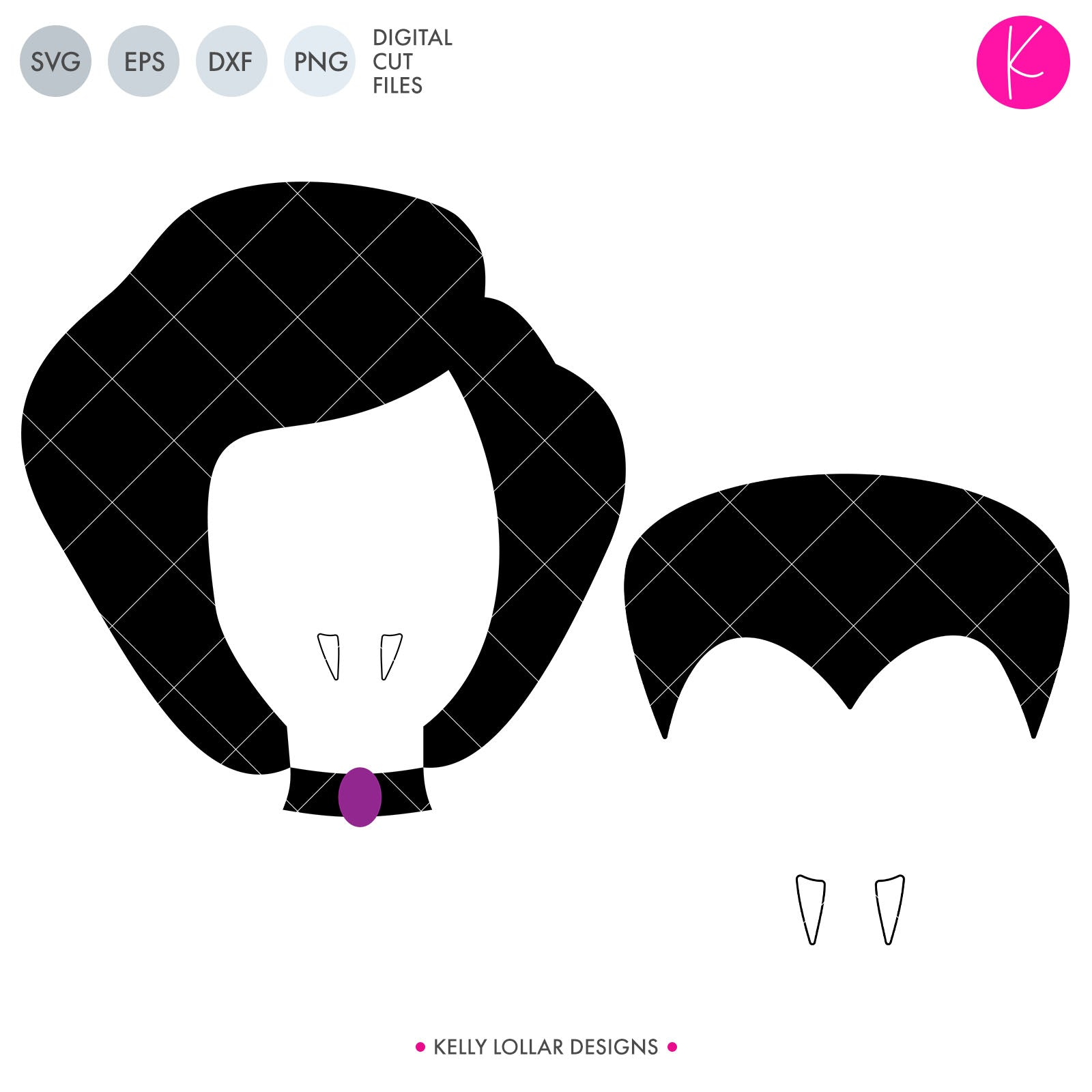Vampires | SVG DXF EPS PNG Cut Files Boy and Girl Vampire Face for Brother and Sister or Couples Halloween Shirts and Decor | SVG DXF EPS PNG Cut Files This cute set of male and female vampire