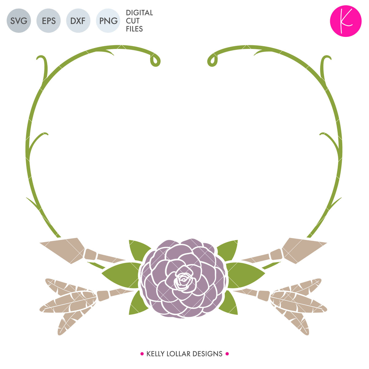 Flower and Vine Frame | SVG DXF EPS PNG Cut Files