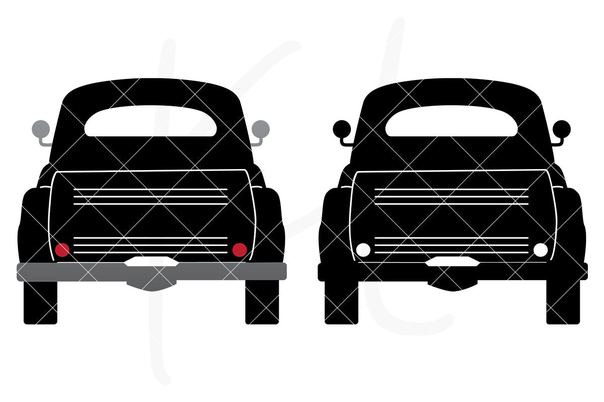 Solid Rear View Vintage Truck svg pack includes 2 versions - multi-color or single color