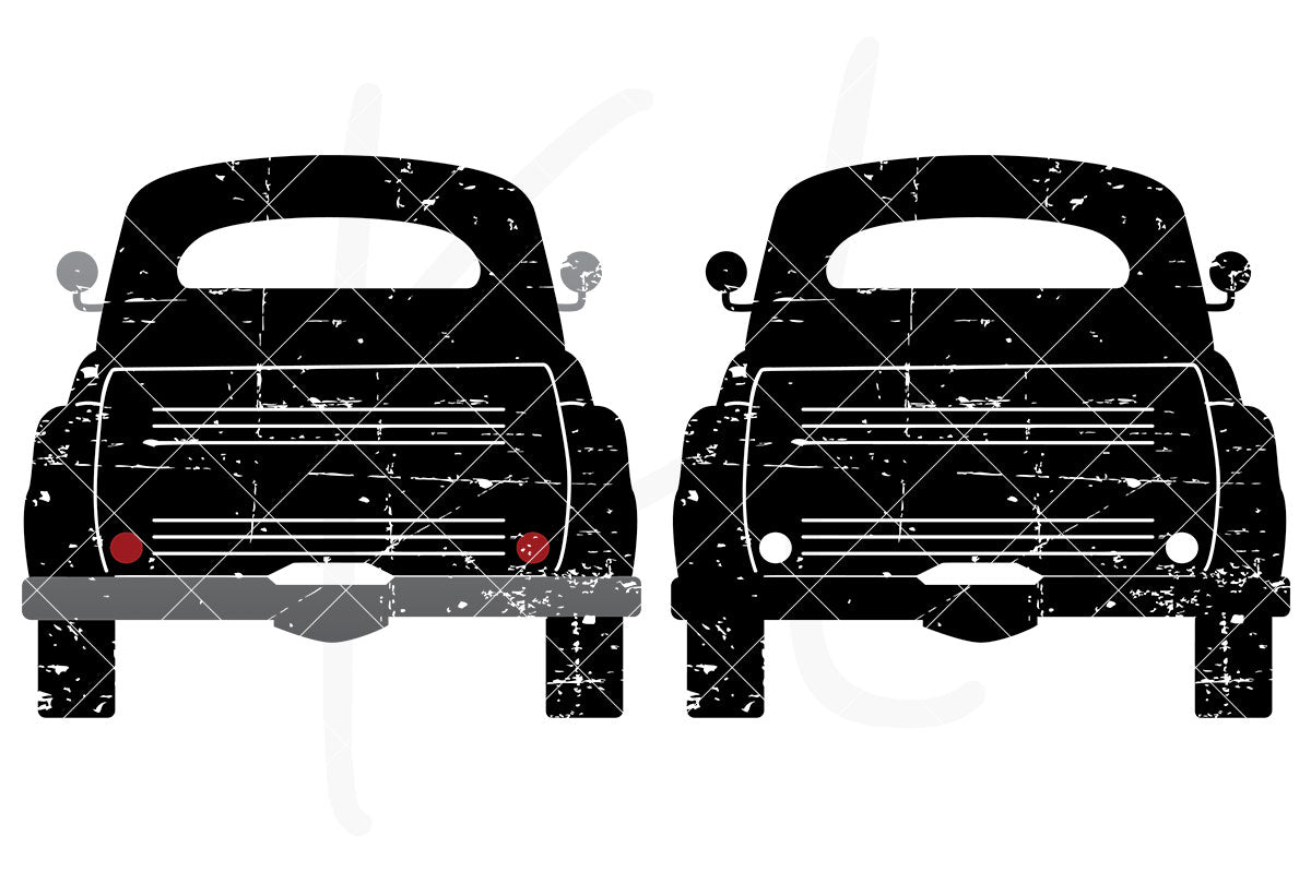 Distressed Rear View Vintage Truck svg pack includes 2 versions - multi-color or single color