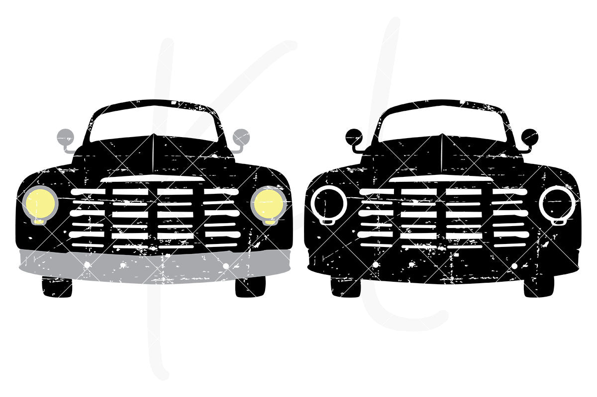 Distressed Front View Vintage Truck svg pack includes 2 versions - multi-color or single color