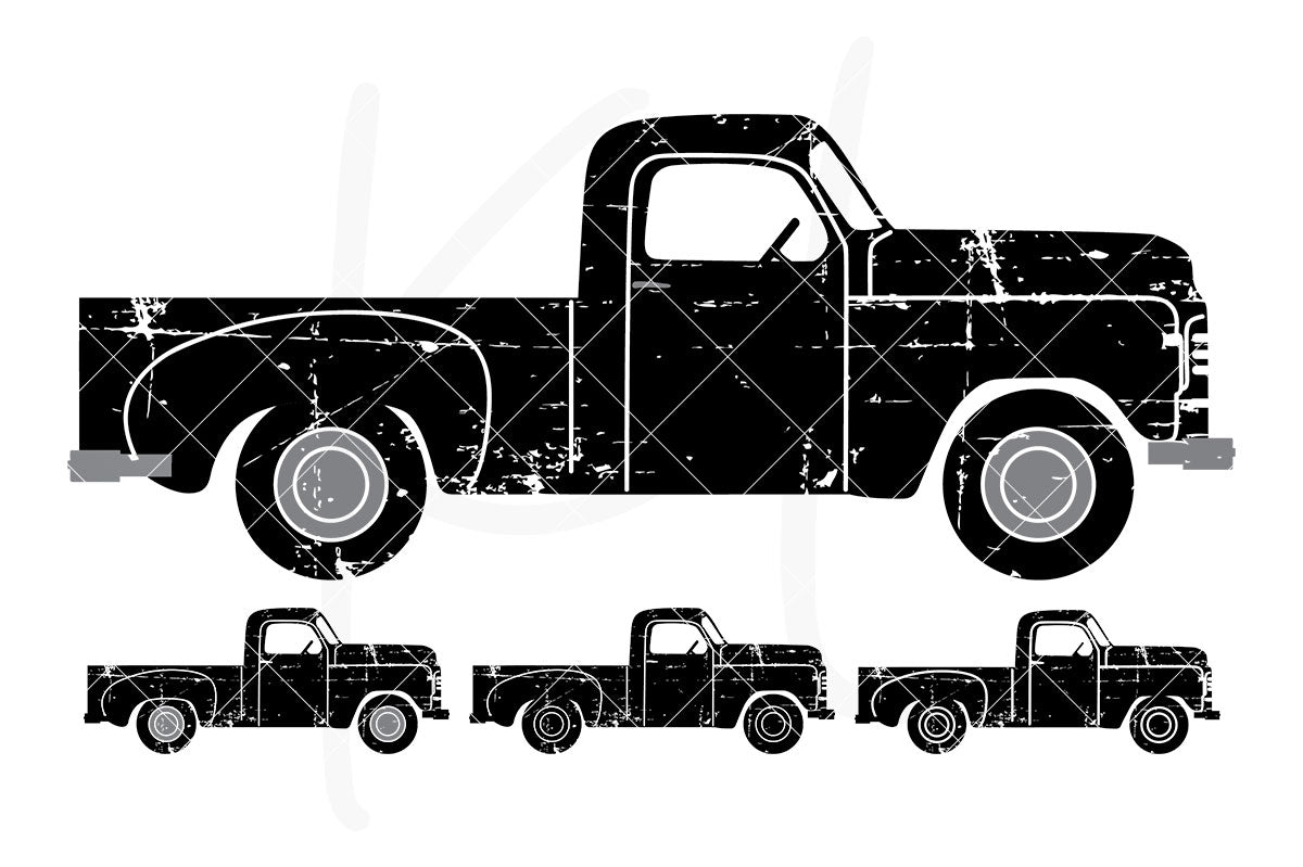 Distressed Side View Vintage Truck svg pack includes 4 versions from multi-color to stencil