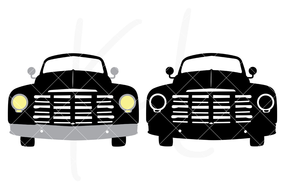 Solid Front View Vintage Truck svg pack includes 2 versions - multi-color or single color