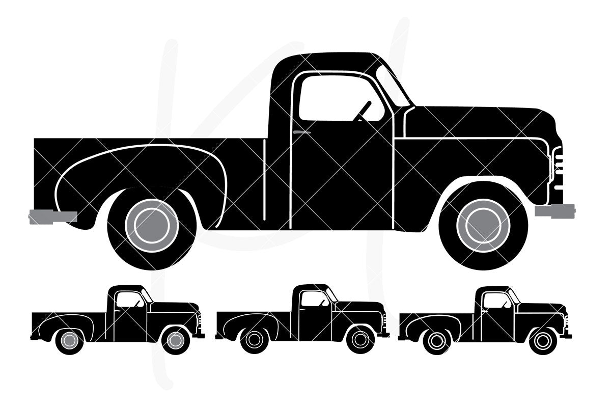Solid Side View Vintage Truck svg pack includes 4 versions from multi-color to stencil