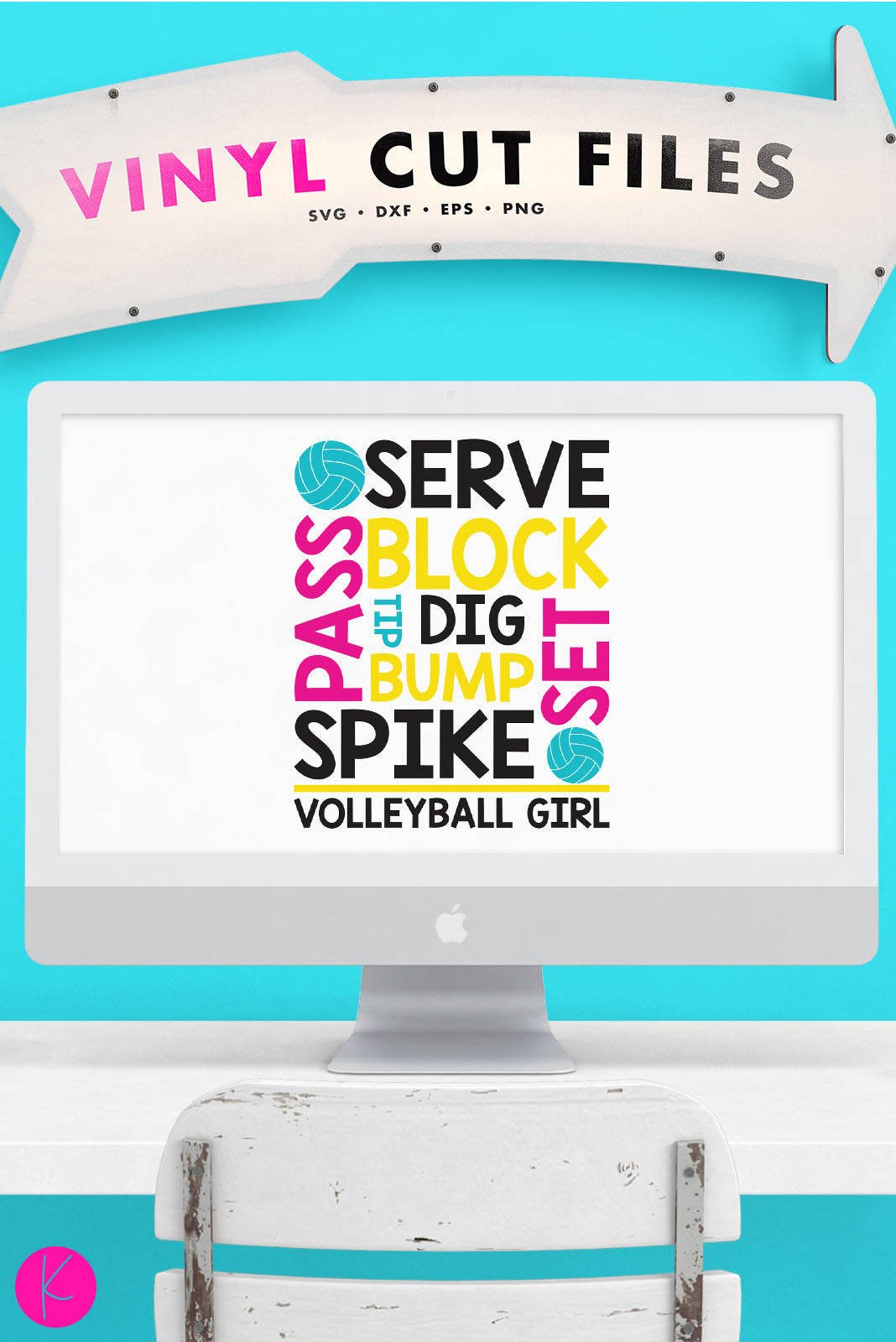 Volleyball Girl | SVG DXF EPS PNG Cut Files