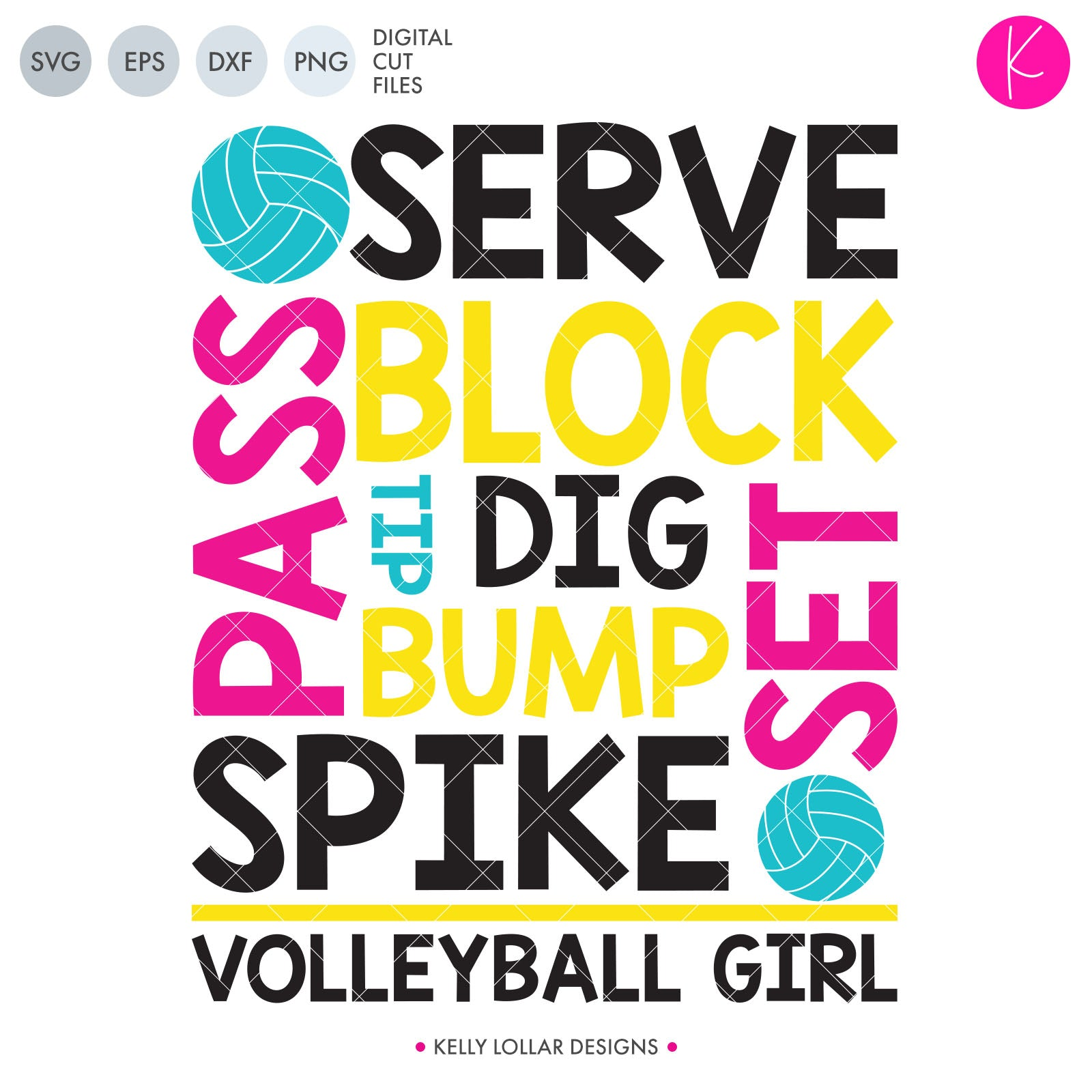 Volleyball Girl svg file - Volleyball Typography of Terms and Volleyball Girl Quote with Volleyballs for Accents | SVG DXF PNG Cut Files