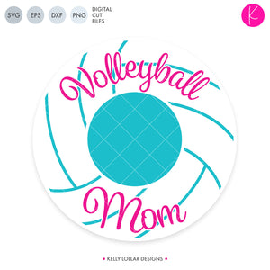 Volleyball Mom Monogram svg file - Circle Monogram Frame with Volleyball Line Knockouts and Script Volleyball Mom Around the Border | SVG DXF PNG Cut Files