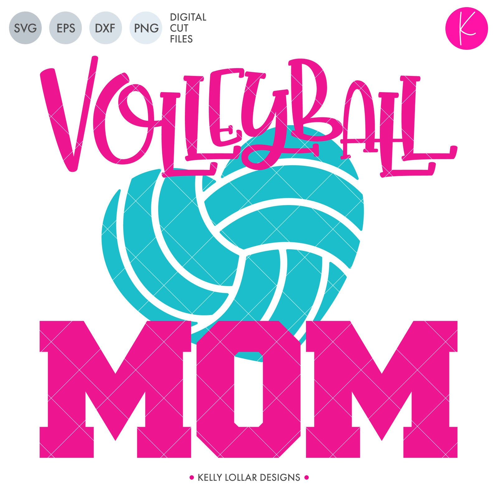 Volleyball Mom SVG Cut File Volleyball Mom Quote with Heart Shaped Volleyball | SVG DXF PNG Cut Files 1 file for each format each piece welded separately to save space while cutting volleyball heart can