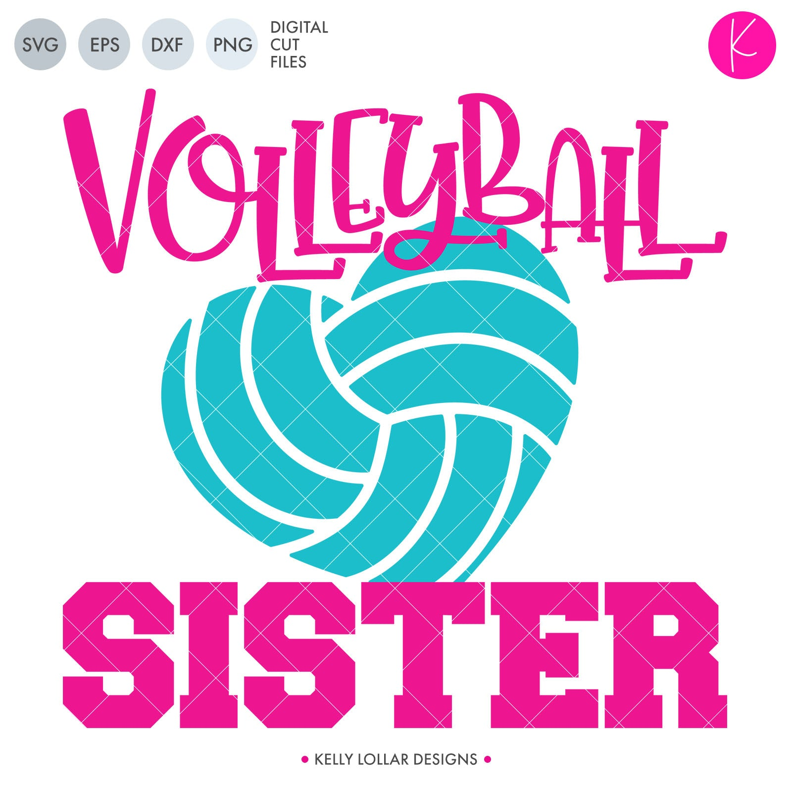 Volleyball Sister SVG Cut File Volleyball Sister Quote with Heart Shaped Volleyball | SVG DXF PNG Cut Files 1 file for each format each piece welded separately to save space while cutting volleyball heart can be