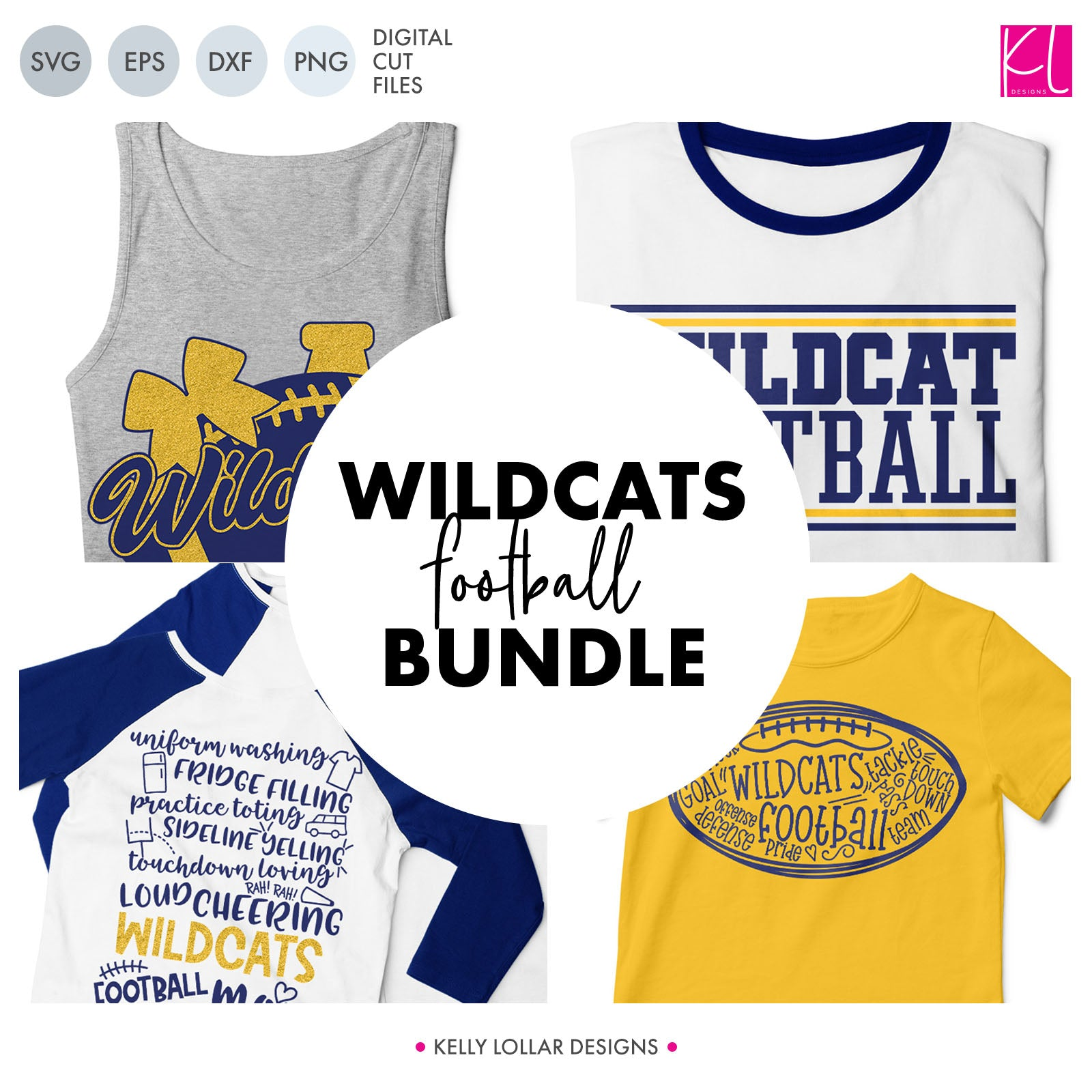 Wildcats Football SVG Cut File Bundle