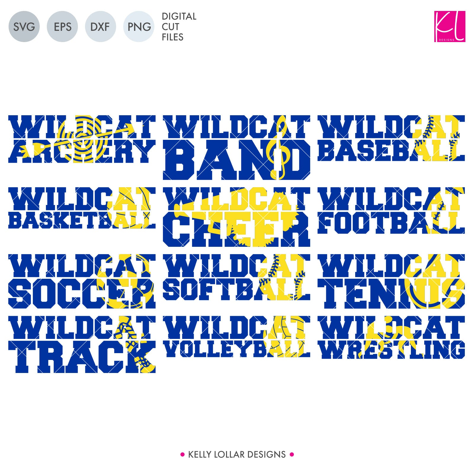 Wildcat Sports Pack | SVG DXF EPS PNG Cut Files This handy Wildcats crafter pack is a great addition to your design cache. You're covered for the entire school year with ten different spirit shirt designs - Archery, Band, Baseball, Basketball,