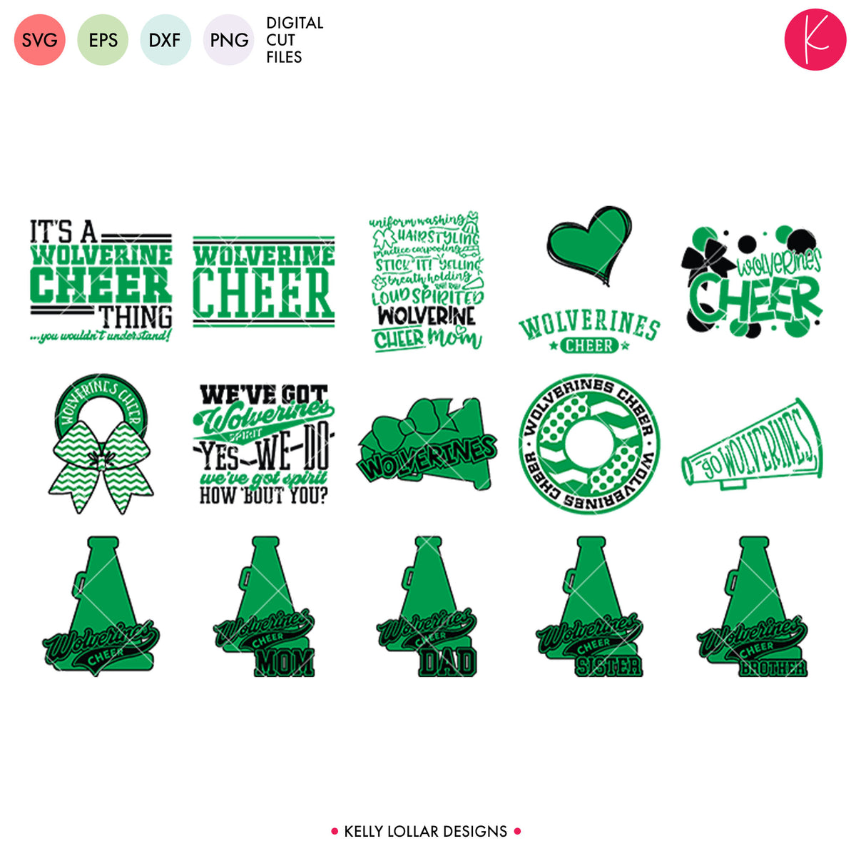 Wolverines Cheer Bundle | SVG DXF EPS PNG Cut Files
