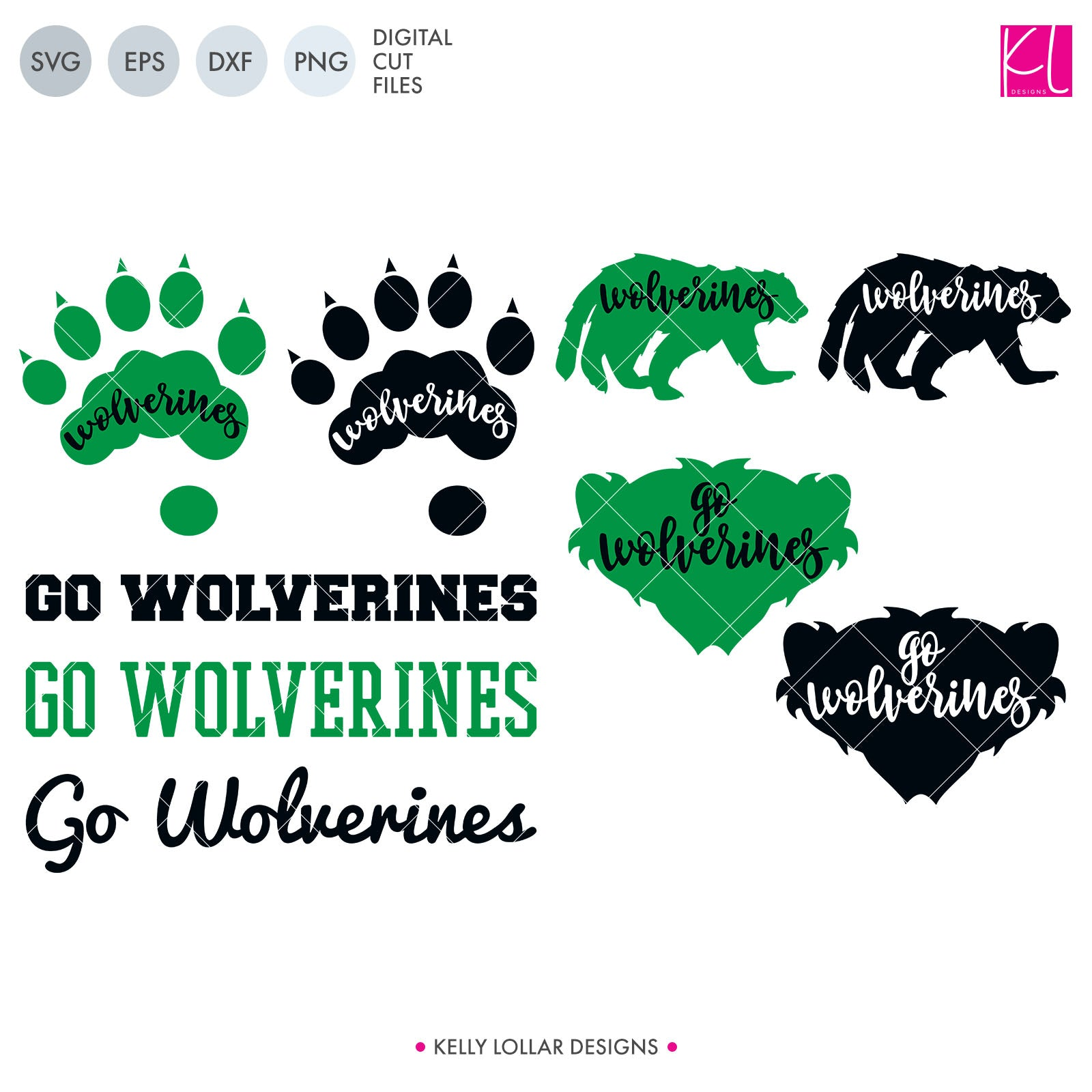 Wolverines Mascot Bundle | SVG DXF EPS PNG Cut Files A perfect bundle for Wolverines school spirit crafters! This set of 28 designs includes everything from cute and girly to unisex so you'll have a little something for everyone. Includes