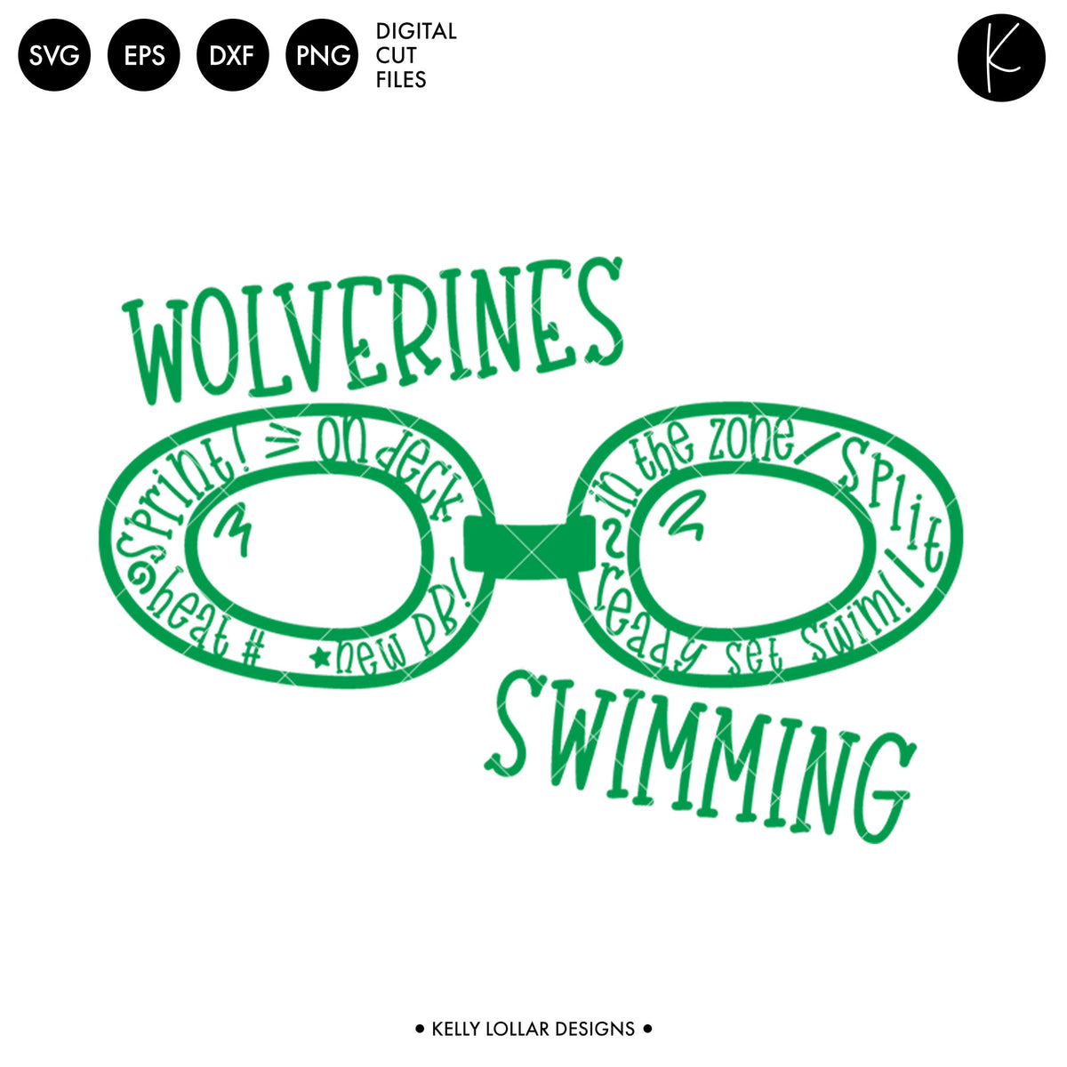 Wolverines Swim Bundle | SVG DXF EPS PNG Cut Files