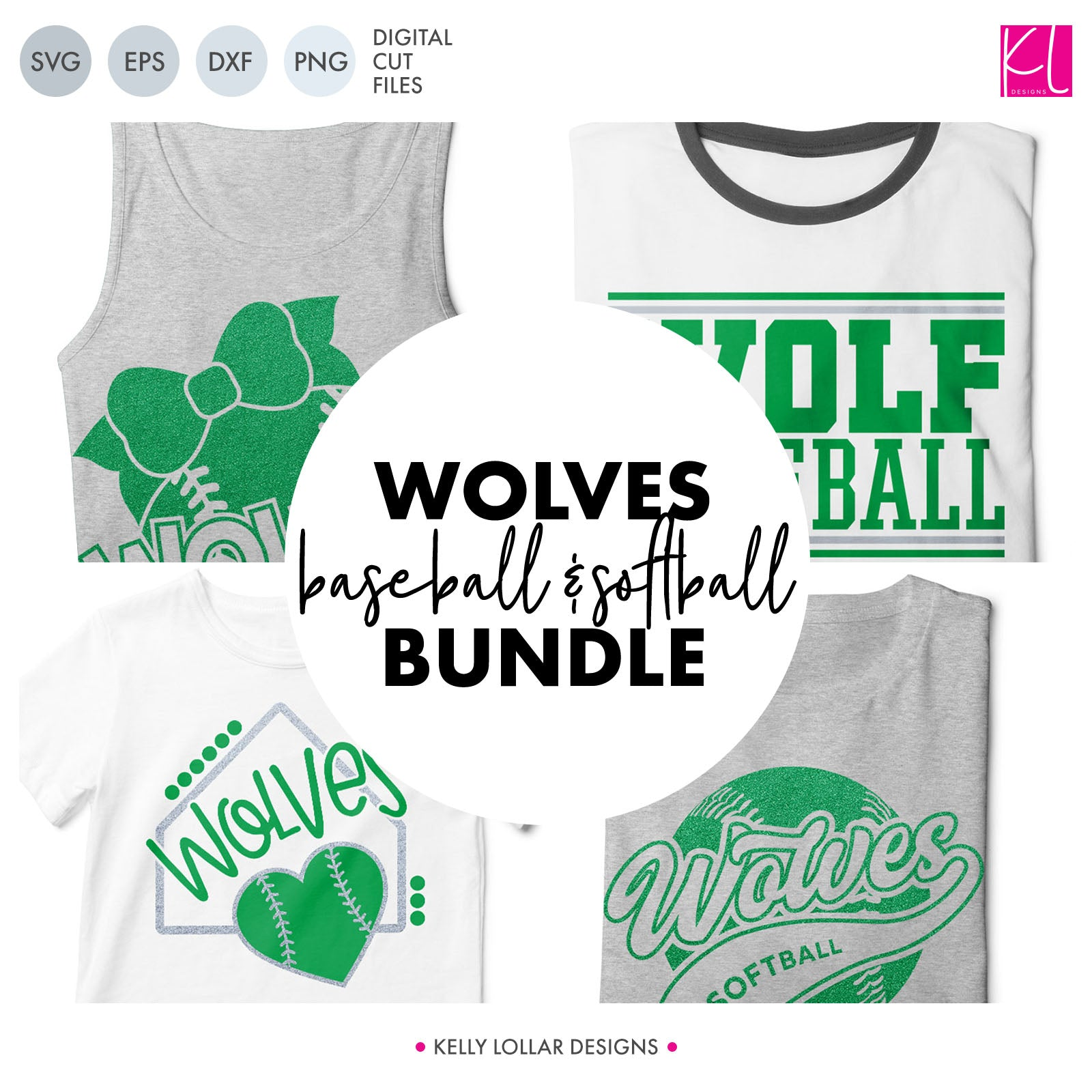 Wolves Baseball & Softball Bundle | SVG DXF EPS PNG Cut Files