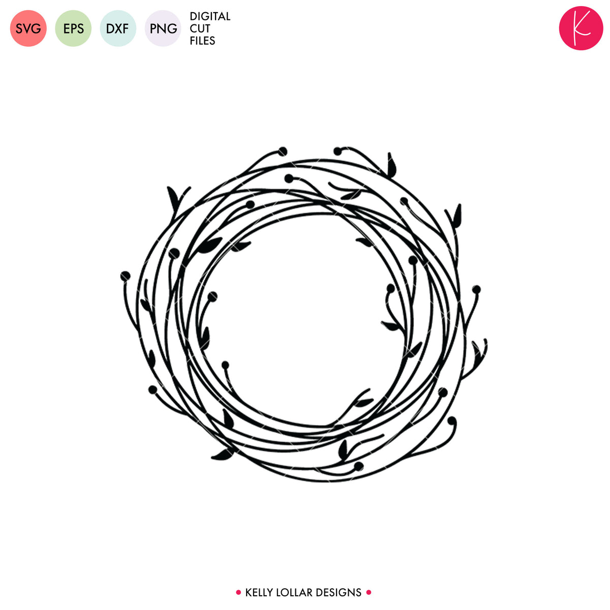 Wreath 2  | SVG DXF EPS PNG Cut Files