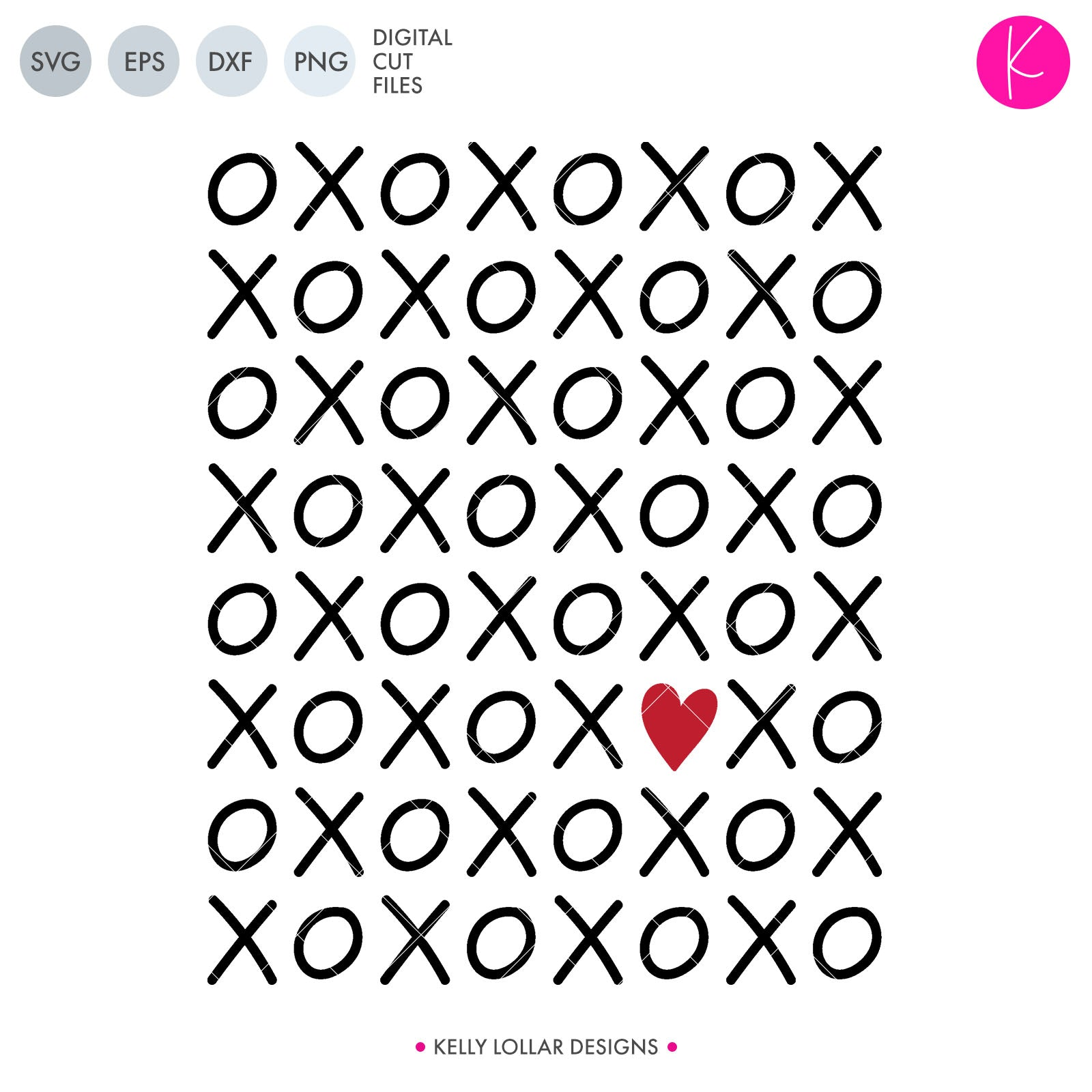 Hugs & Kisses | SVG DXF EPS PNG Cut Files Tic Tac Toe Style Rectangular X and O Grid with Heart for Valentine's Shirts and Home Decor | SVG DXF PNG Cut Files 1 file for each format welded in
