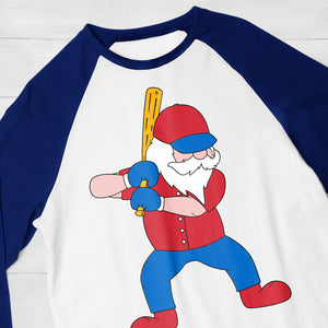 Cute Men's Christmas shirt using the Baseball Santa svg cut in team colors