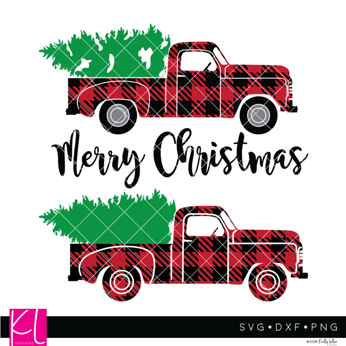 Buffalo Plaid svg pack of the Vintage Red Christmas Truck - 3 versions included