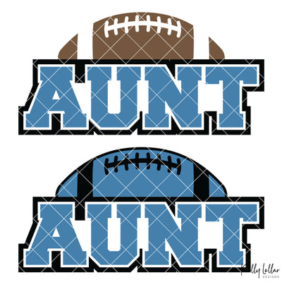 Football Aunt | 2 and 4 Colors Options Plus Bonus Football Helmet Monogram | SVG DXF PNG Cut Files