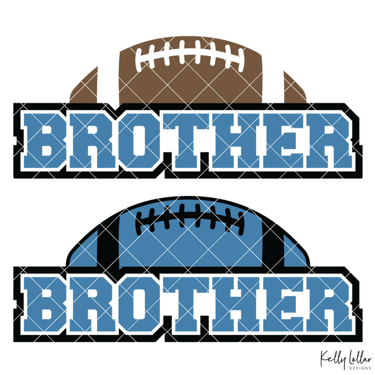 Football Brother | 2 and 4 Colors Options Plus Bonus Football Helmet Monogram | SVG DXF PNG Cut Files