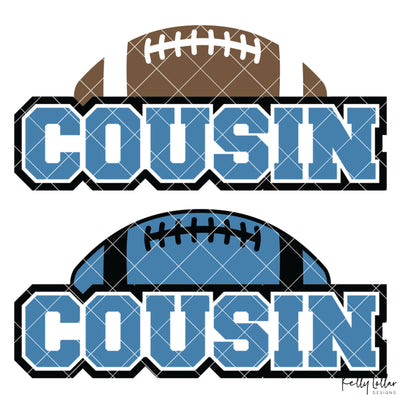 Football Cousin | 2 and 4 Colors Options Plus Bonus Football Helmet Monogram | SVG DXF PNG Cut Files