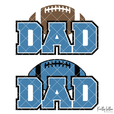 Football Dad | 2 and 4 Colors Options Plus Bonus Football Helmet Monogram | SVG DXF PNG Cut Files